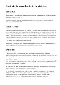 Plantilla Contrato Arrendamiento Vivienda