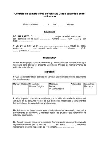 ▷ plantilla contrato de compraventa de vehículo usado