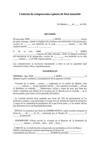 Plantilla Contrato Compraventa Inmueble A Plazos