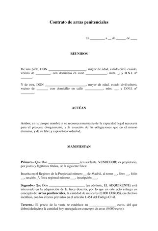 Plantilla Contrato De Arras Penitenciales