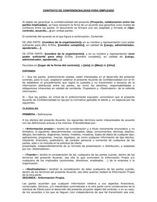 contrato confidencialidad empleado